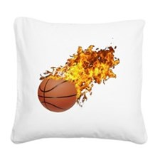 Flaming Basket Ball 2 Square Canvas Pillow