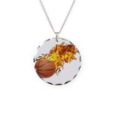 Flaming Basket Ball 2 Necklace