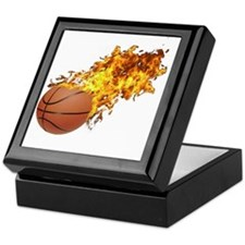 Flaming Basket Ball 2 Keepsake Box