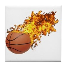Flaming Basket Ball 2 Tile Coaster