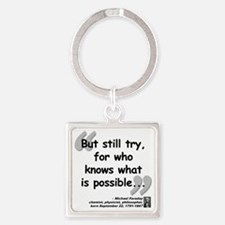 Faraday Try Quote Square Keychain
