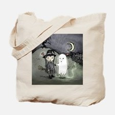 witch-loves-ghost_13-5x13-5-B Tote Bag