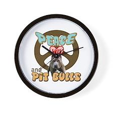 PEACE LOVE and PITBULLS Wall Clock