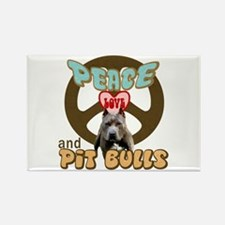 PEACE LOVE and PITBULLS Rectangle Magnet (100 pack