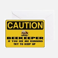 Caution Beekeeper Men Greeting Card