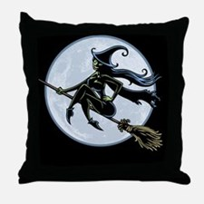 witch-broom2-BUT Throw Pillow