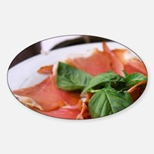 Dried dry cured ham with basil leav Sticker (Oval)
