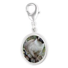 Siamese Cat Silver Oval Charm