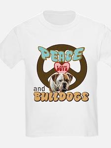 PEACE LOVE and BULLDOGS Kids T-Shirt