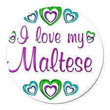 maltese Round Car Magnet