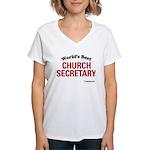 World's Best Church Secretary Women's V-Neck T-Shi