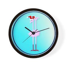 Two Christmas Flamingos circle Wall Clock