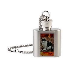 Tuxedo Cat Flask Necklace