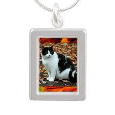 Tuxedo Cat Silver Portrait Necklace