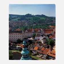 Cesky Krumlov Town view from Round T Throw Blanket