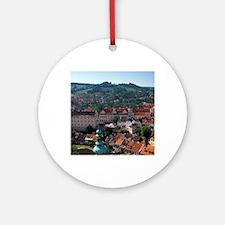 Cesky Krumlov Town view from Round  Round Ornament