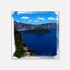 "(16) Crater Lake  Wizard Is Square Sticker 3"" x 3"""