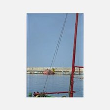 Fishing boat in harbour, Romania, Rectangle Magnet