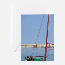 Fishing boat in harbour, Romania, Co Greeting Card
