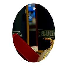 Beluga caviare in Faberge style eggs Oval Ornament