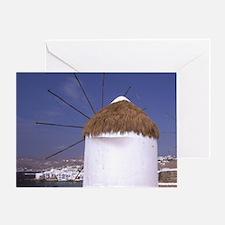Europe, Greece, Mykonos. Windmills Greeting Card