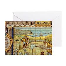 Spain, Alicante Plaza de Espana, til Greeting Card