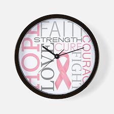 breastcancercollage Wall Clock