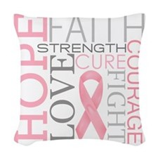 breastcancercollage Woven Throw Pillow