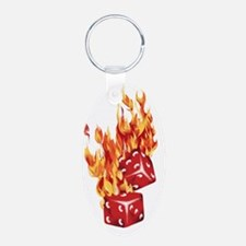 Flaming Dice Keychains