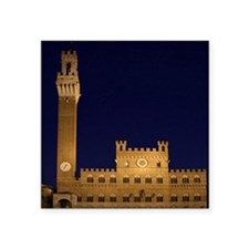 "Sienna. Torre del Mangia in Square Sticker 3"" x 3"""