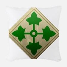 4th infantry div - Vintage Woven Throw Pillow