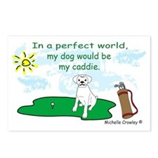 DogCaddieBoxerWt Postcards (Package of 8)
