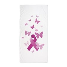 Pink Awareness Ribbon Beach Towel