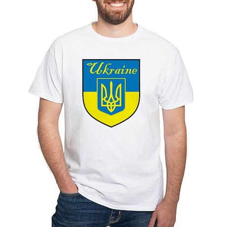 Ukraine Flag Crest Shield White T-Shirt