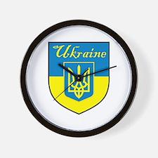 Ukraine Flag Crest Shield Wall Clock