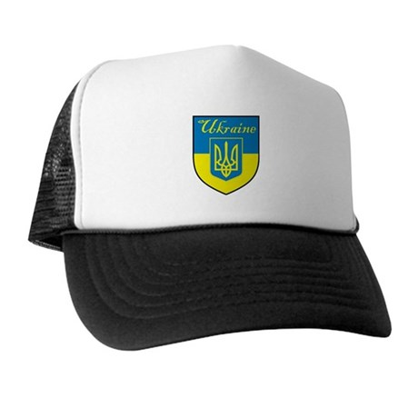 Ukraine Flag Crest Shield Trucker Hat