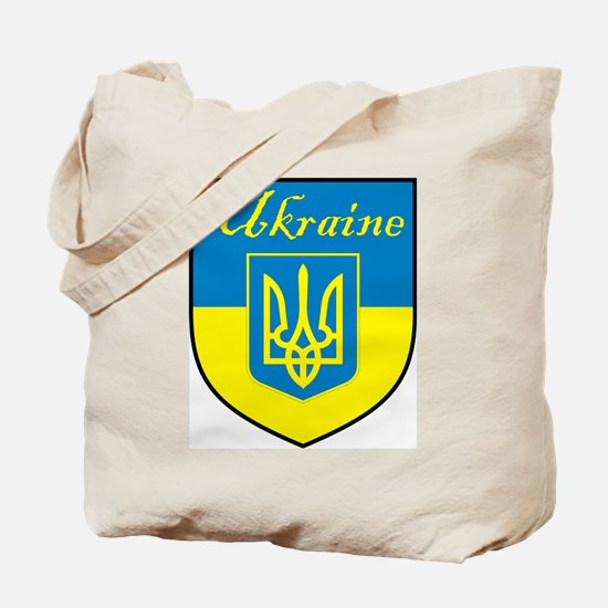 Ukraine Flag Crest Shield Tote Bag