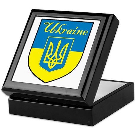 Ukraine Flag Crest Shield Keepsake Box