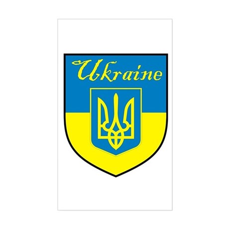 Ukraine Flag Crest Shield Rectangle Sticker