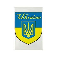Ukraine Flag Crest Shield Rectangle Magnet (10 pac