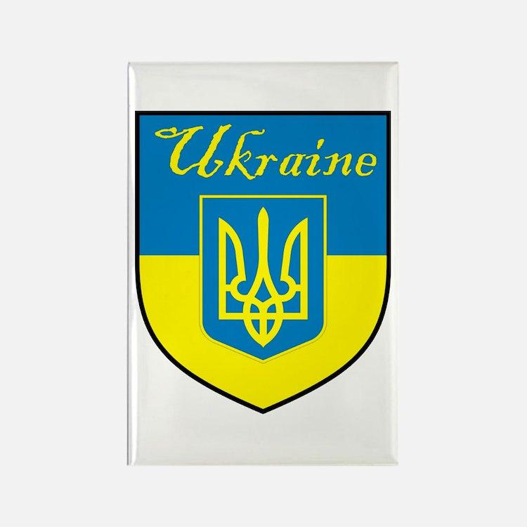 Ukraine Flag Crest Shield Rectangle Magnet