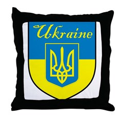 Ukraine Flag Crest Shield Throw Pillow