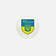 Ukraine Flag Crest Shield Mini Button (10 pack)