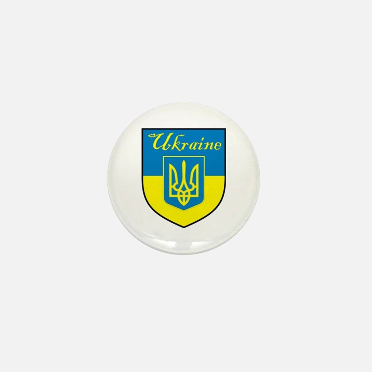 Ukraine Flag Crest Shield Mini Button (10 pack)