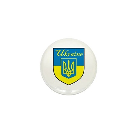 Ukraine Flag Crest Shield Mini Button (100 pack)