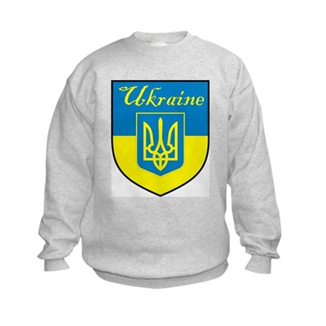 Ukraine Flag Crest Shield Kids Sweatshirt