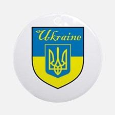 Ukraine Flag Crest Shield Ornament (Round)