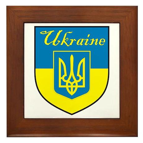 Ukraine Flag Crest Shield Framed Tile