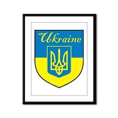 Ukraine Flag Crest Shield Framed Panel Print