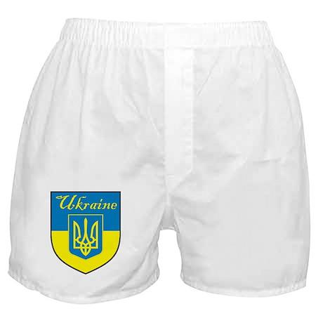 Ukraine Flag Crest Shield Boxer Shorts